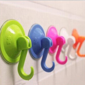 Colorful Suction Cup Hooks Strong Wall Sucker Vacuum Traceless Hooks Kitchen Bathroom Wall Hook ABS
