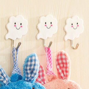 3Pcs Cloud Wall Hooks Hangers White Metal + Plastic Hooks Stick Hanging On Wall Door Clothes Towel Seamless Holder Racks