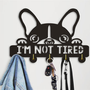 Mp 1Piece Boston Terrier I am Not Tired Wall Hooks Creative Lovely Dog Silihouette Decorative Hanger Unique Gift For Dog Lover