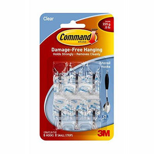 3M Command Wall Hook Small Wire 6 Hook Pack - Clear