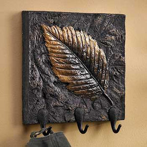 Elm Leaf Plaque with Hooks
