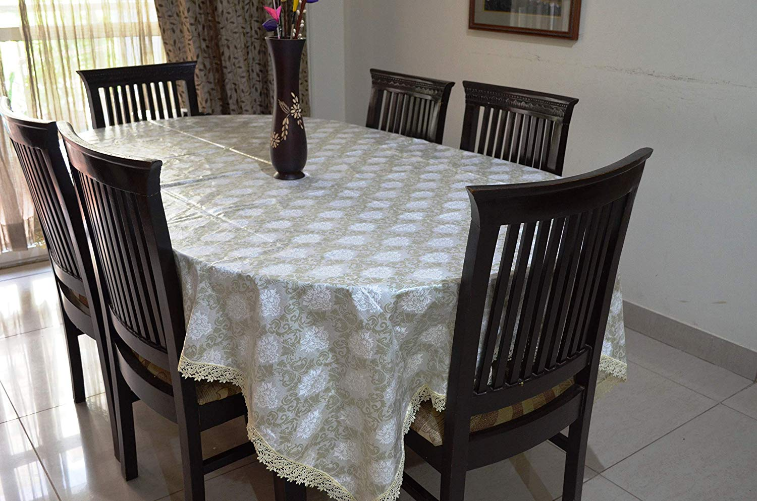 Trance Home Linen 100% Cotton Waterproof Table Cloth/ Cover for Dining Table for 6 Seater -
