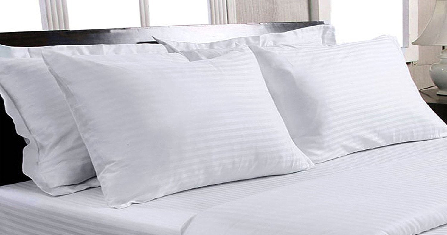 Trance Home Linen Cotton 400TC Pillow Covers-White Self Satin Stripes-Pack of 2
