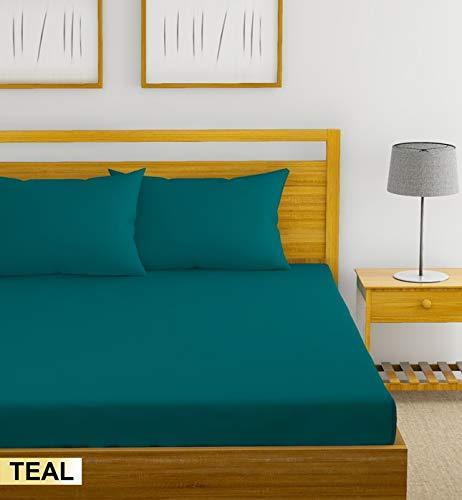 Trance Home Linen Cotton 300TC Plain Fitted Bedsheet with Pillow Covers -Teal