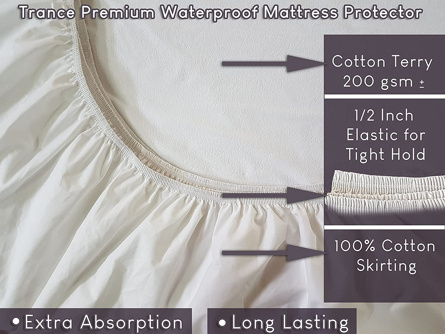 Trance Home Linen Premium Cotton Terry Waterproof Dustproof Bed/Mattress Protector-WHITE