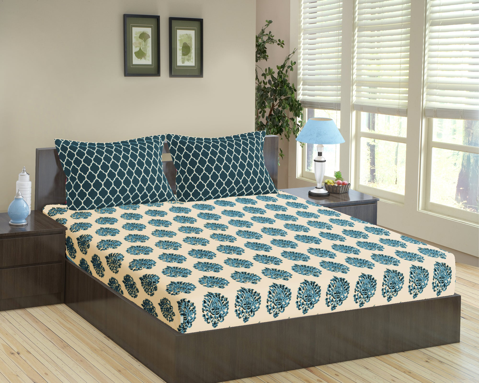 Trance Home Linen 100% Cotton 200 TC Printed Queen Flat Bedsheet with 2 Pillow Covers (86 x 104 inches / 218 x 264 cms)