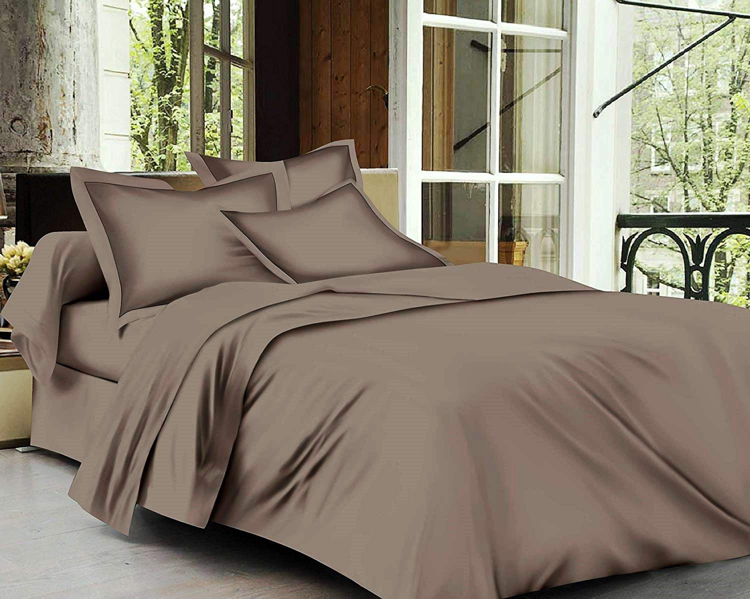 Trance Home Linen Cotton 400TC Plain Bed Sheet with Pillow Cover-Brown Grey