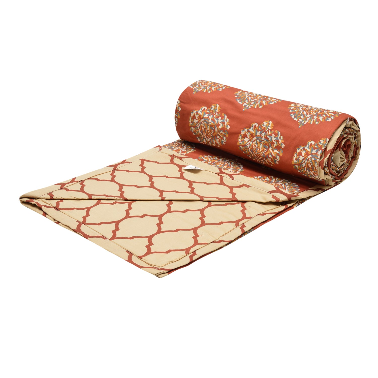 Trance Home Linen Cotton Double Dohar- Damask Clay Red