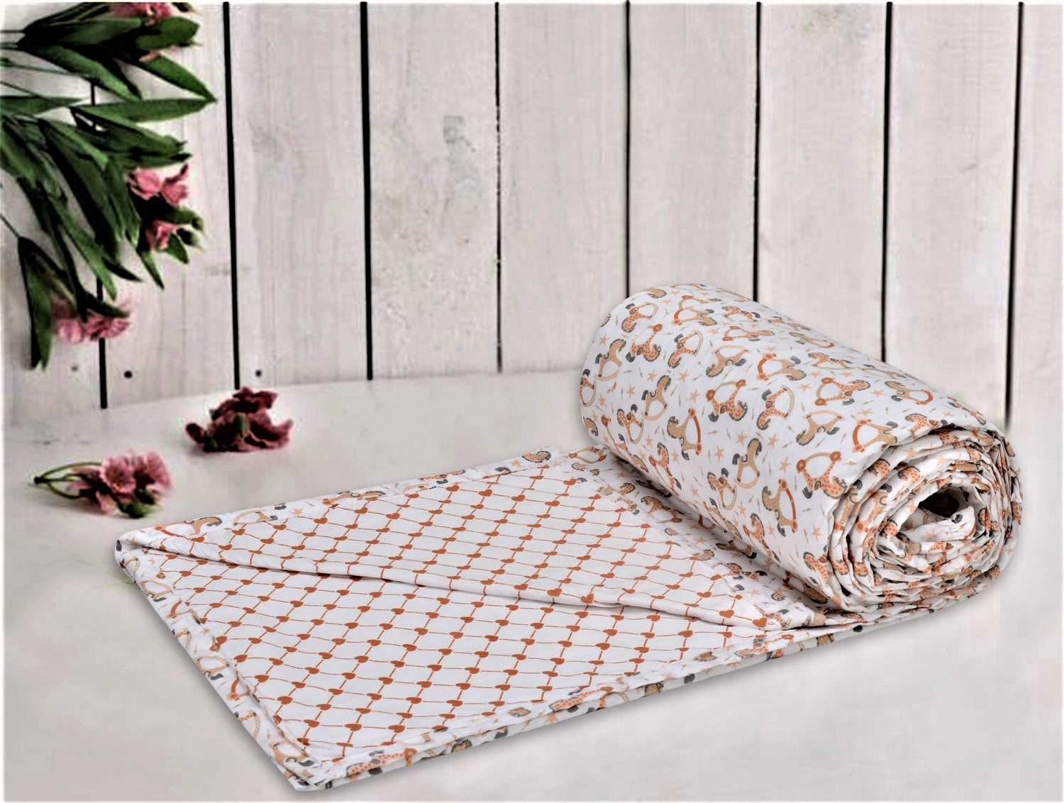 Trance Home Linen Cotton Double Dohar-HORSES Orange Yellow