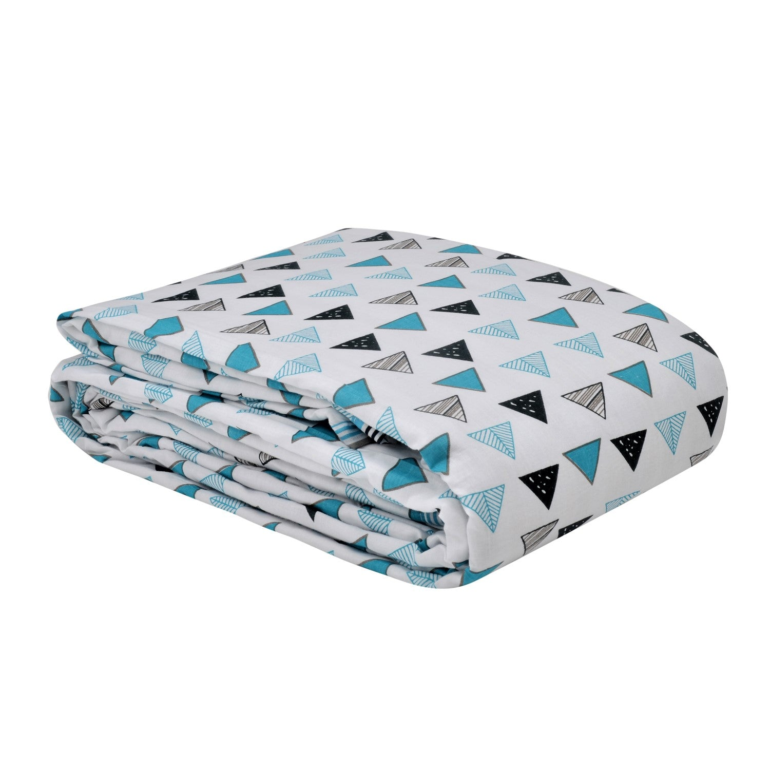 Trance Home Linen Cotton Double Dohar-TRIANGLES Blue Black