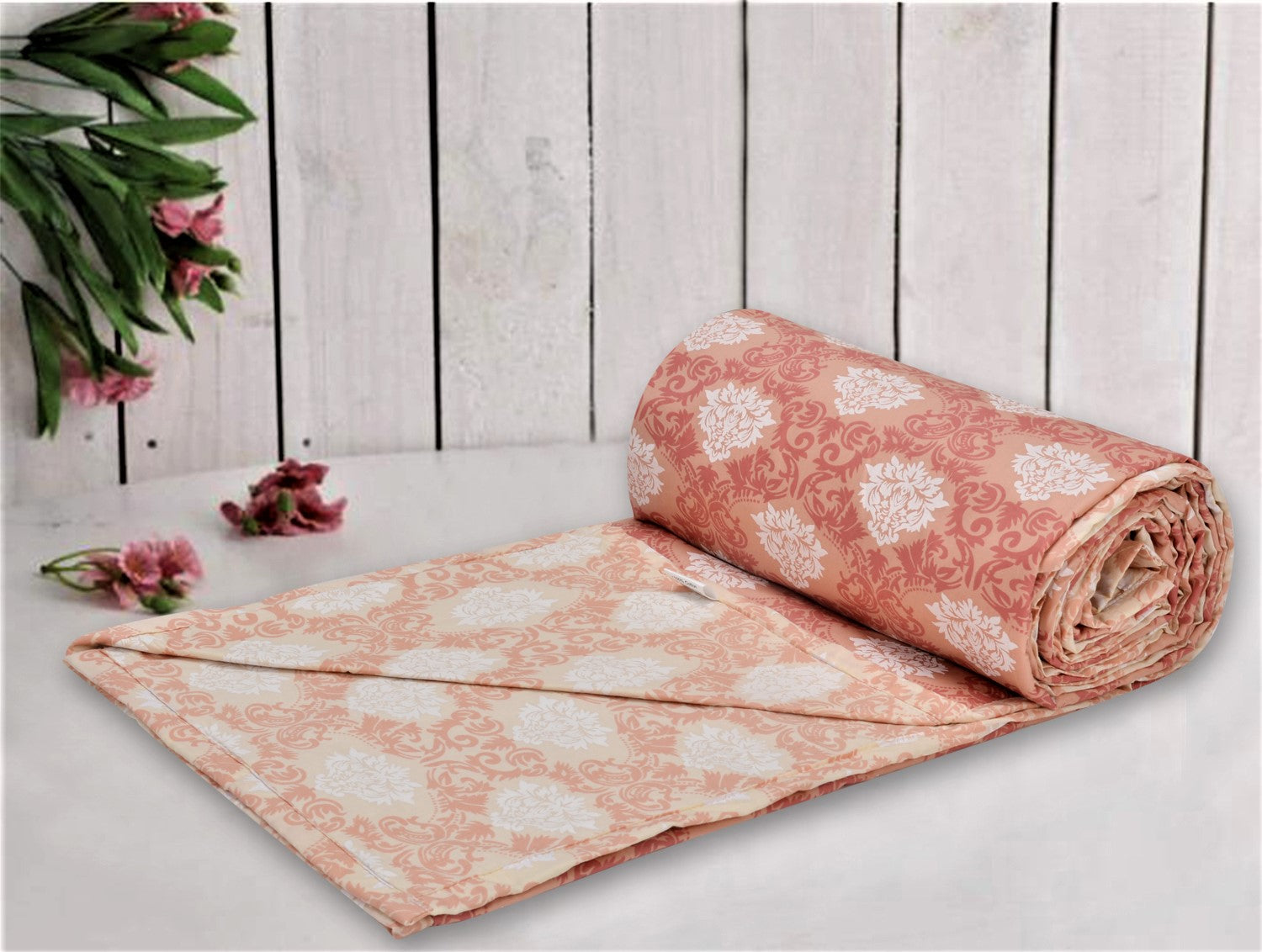 Trance Home Linen Cotton Single Dohar-ROYALE Peach Cream