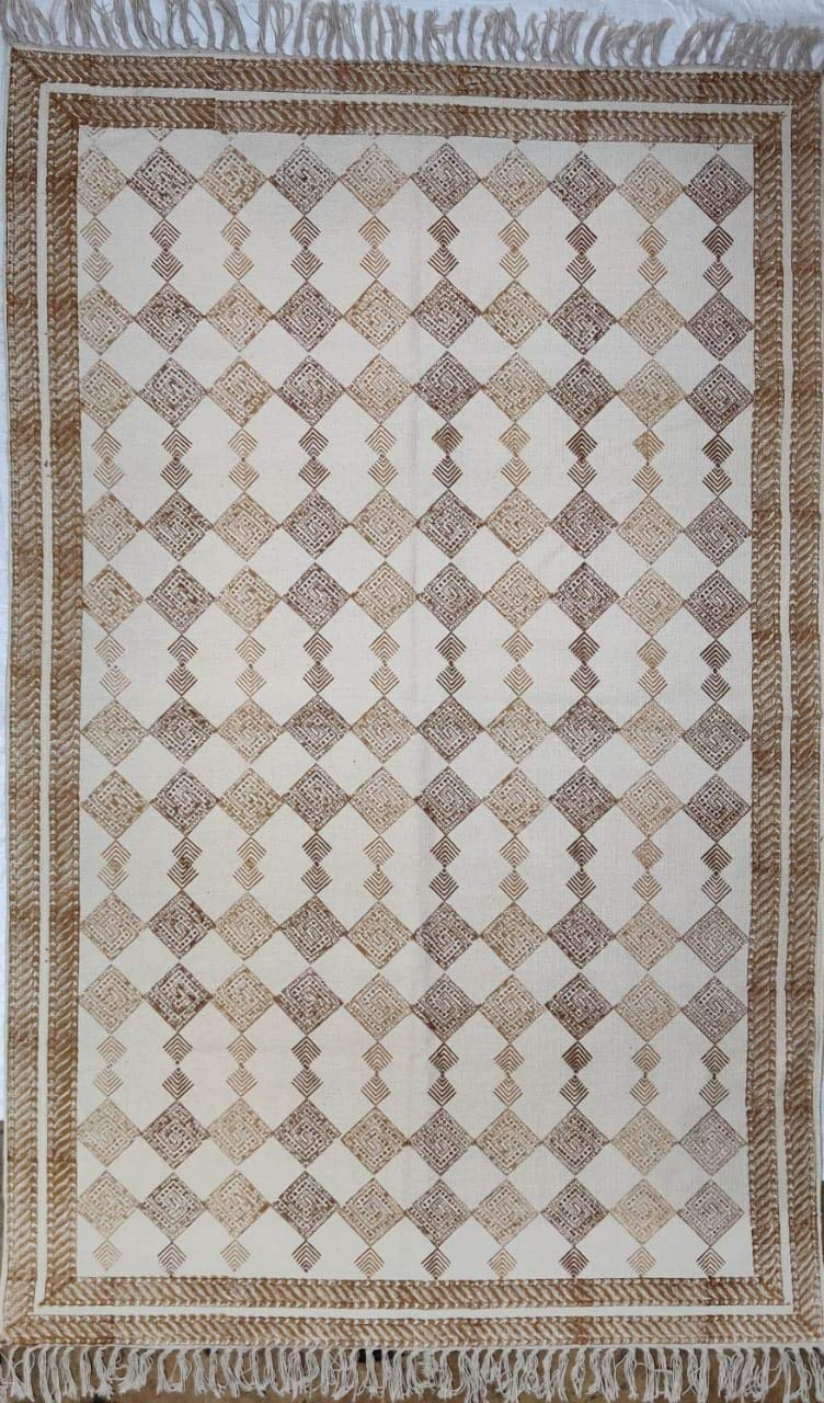 "Trance Home Linen Cotton Printed Dhurrie Rugs for Living Room | Carpet Rug Runner | Floor Mat for Bedroom Kitchen - 3 x 5 Feet (36""x60"")"