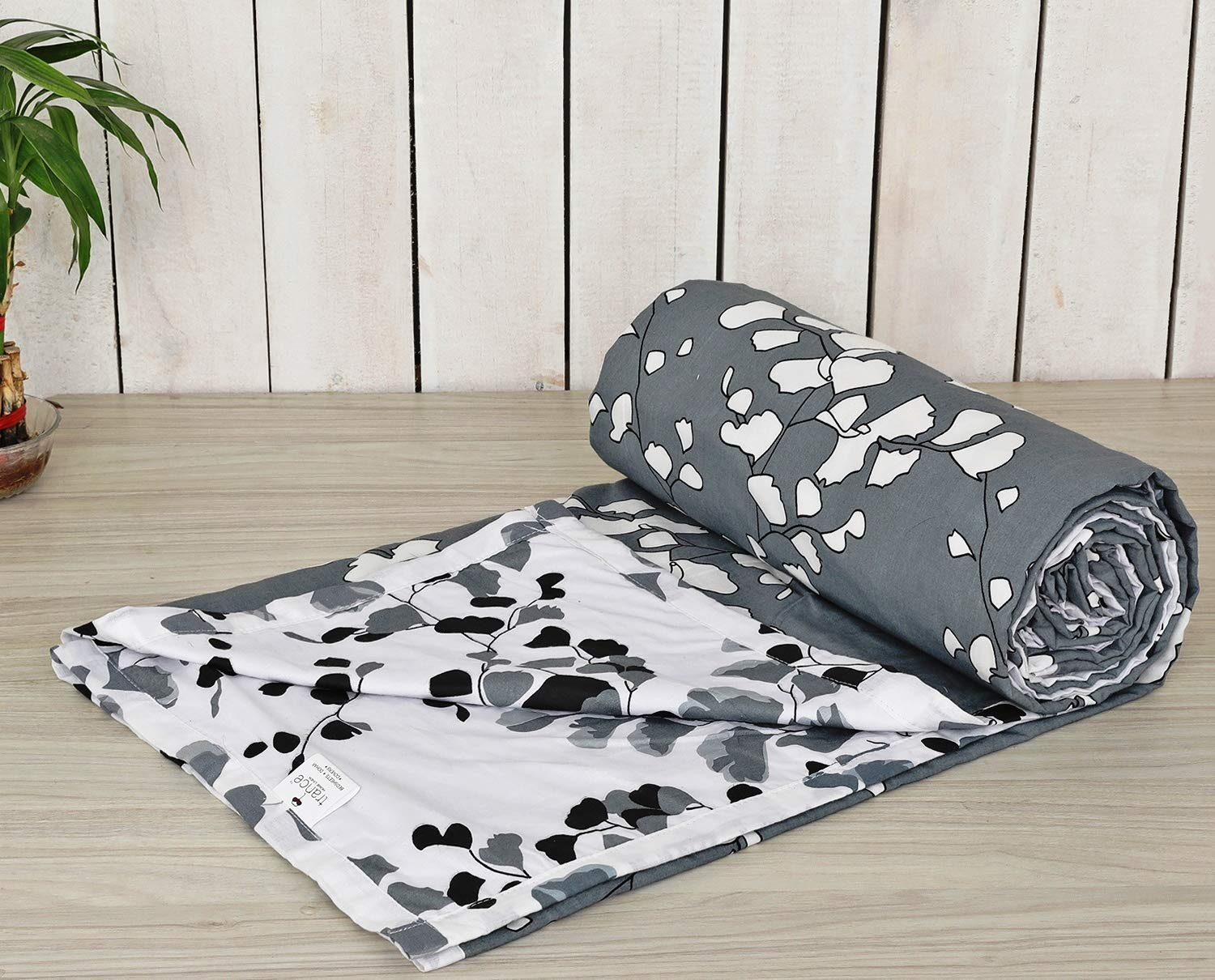 Trance Home Linen Cotton Single Dohar-LEAVES Grey White