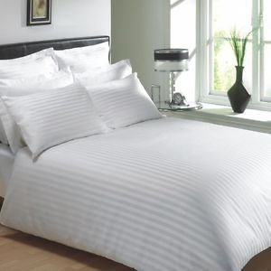 Trance Home Linen 100% Cotton 400TC  Fitted Bedsheet with Pillow Covers-White Self Satin Stripes
