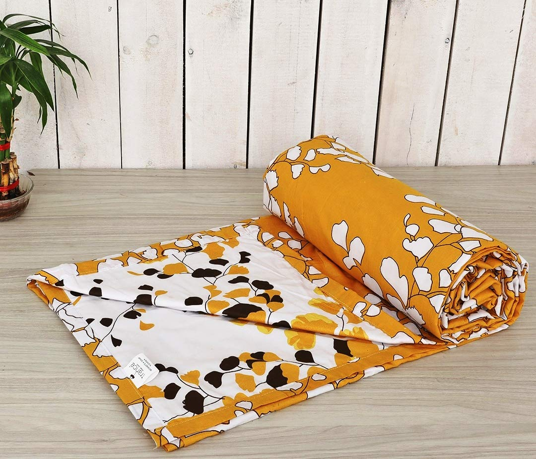 Trance Home Linen Cotton Double Dohar-LEAVES Mustard White