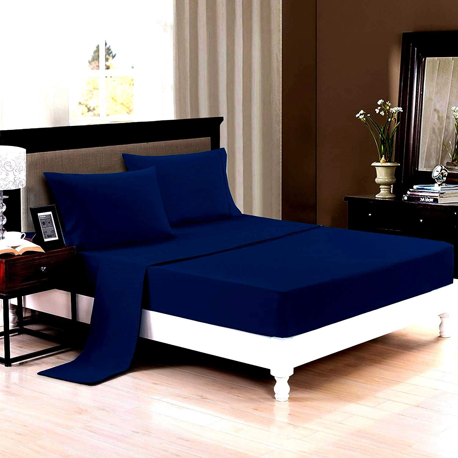 Trance Home Linen Cotton 400TC Plain Bed Sheet with Pillow Cover-Navy Blue