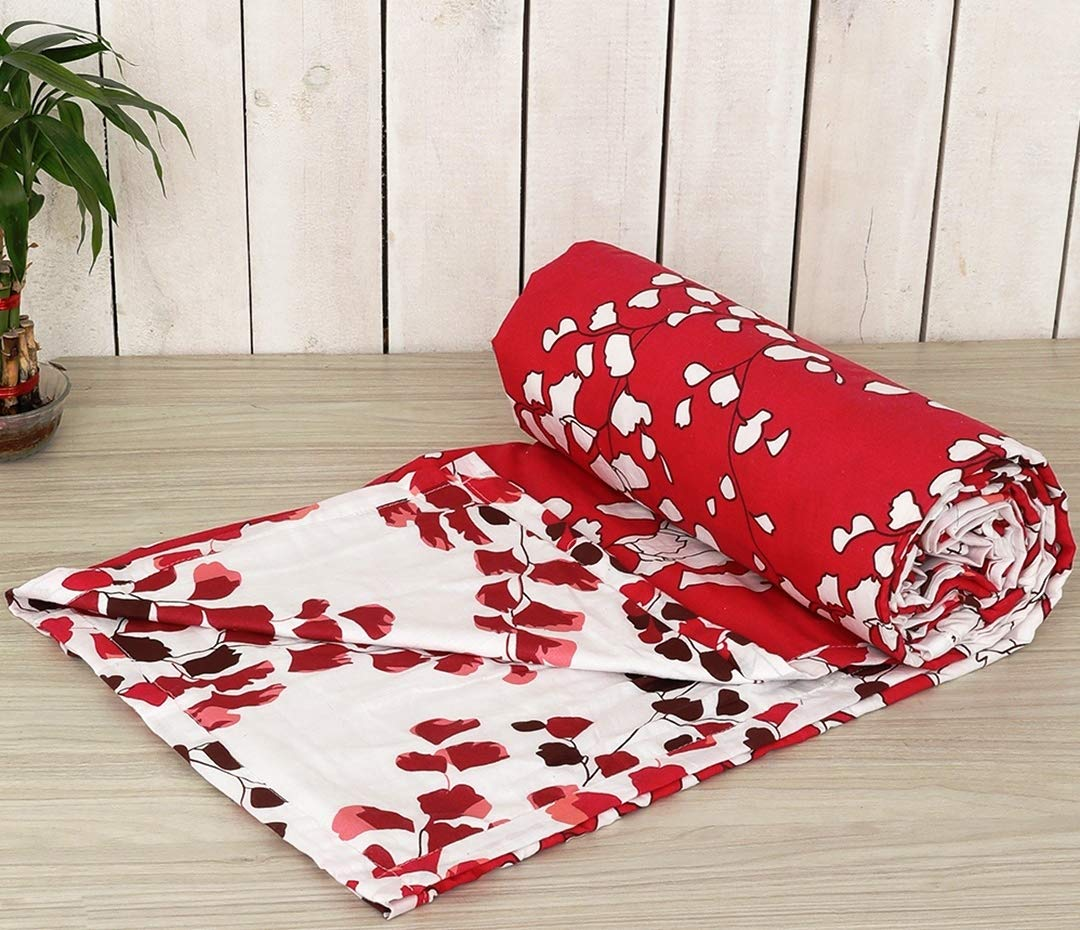 Trance Home Linen Cotton Single Dohar-LEAVES Red White