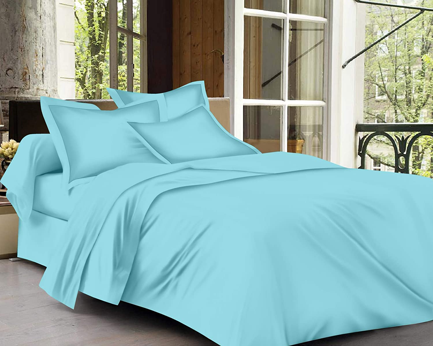 Trance Home Linen Cotton 400TC Plain Bed Sheet with Pillow Cover-Sky Blue
