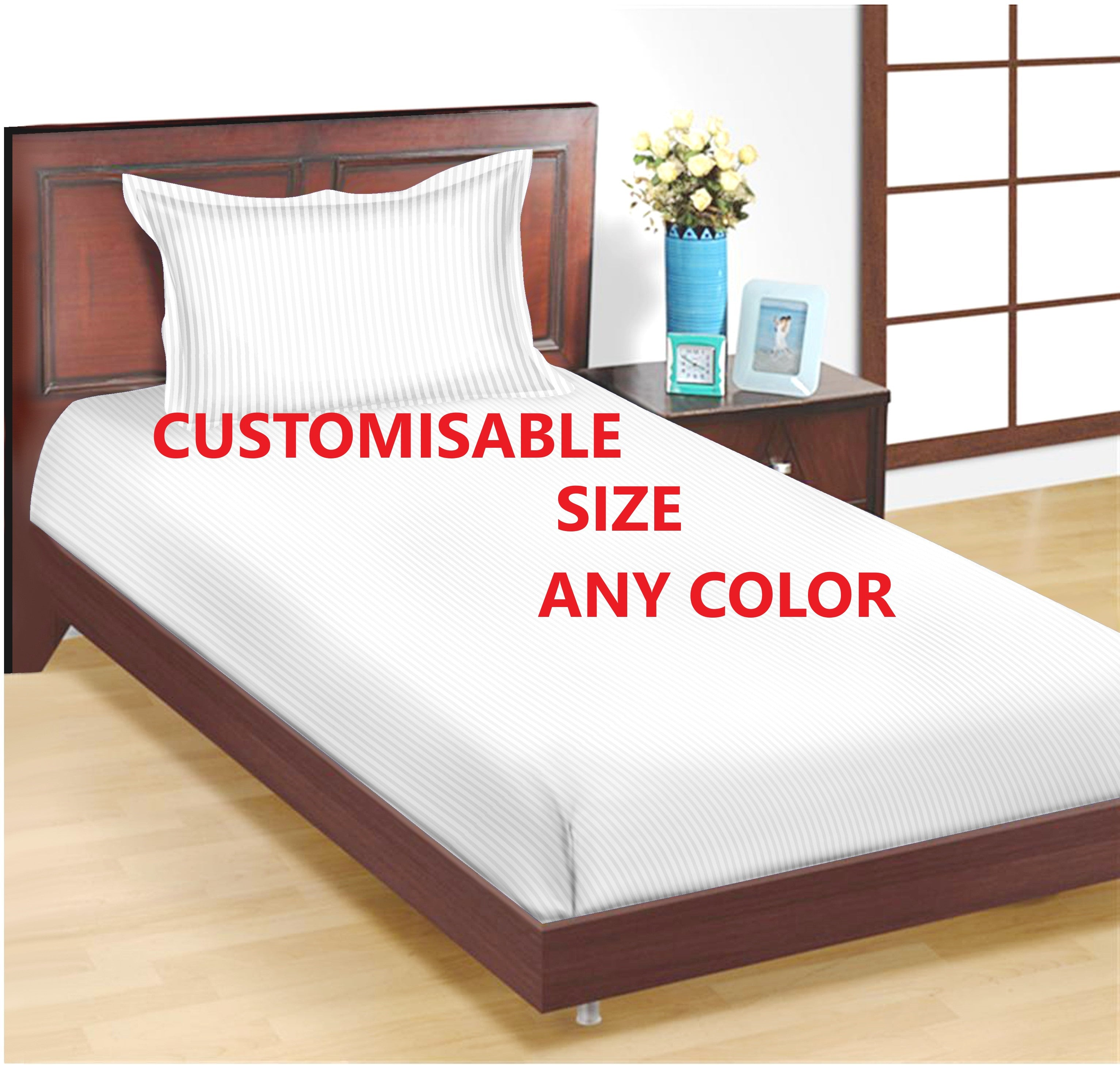 Trance Home Linen Cotton 200 TC Single Bed Sizes Fitted Bedsheet with 1 Pillow Cover