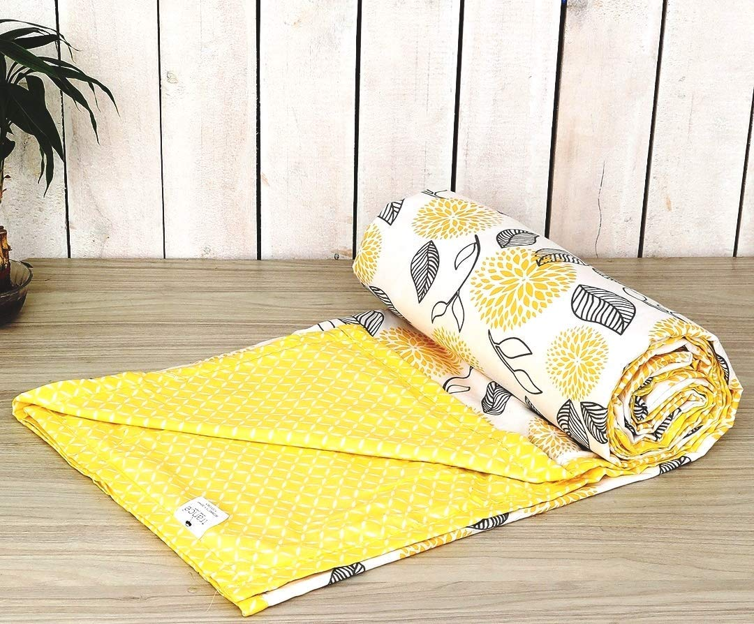 Trance Home Linen Cotton Double Dohar-ABSTRACT LEAVES Yellow White