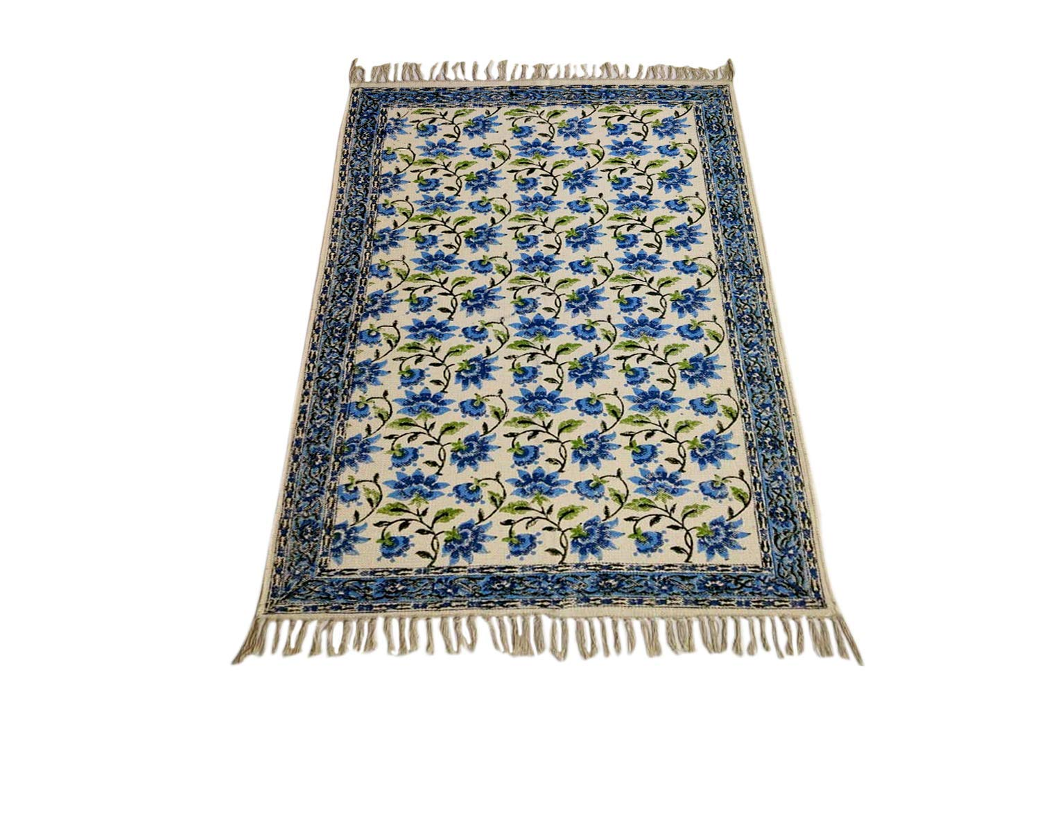 "Trance Home Linen Cotton Printed Dhurrie Rugs for Living Room | Carpet Rug Runner | Floor Mat for Bedroom Kitchen - Small 2 x 3 Feet (24""x36"")"