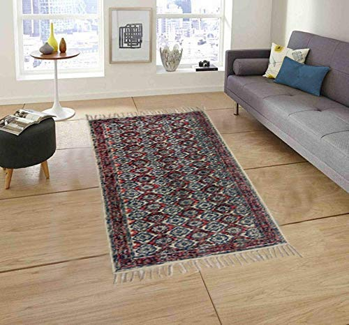 "Trance Home Linen Cotton Printed Dhurrie Rugs for Living Room | Carpet Rug Runner | Floor Mat for Bedroom Kitchen - Medium 4 x 6 Feet (48""x72"")"