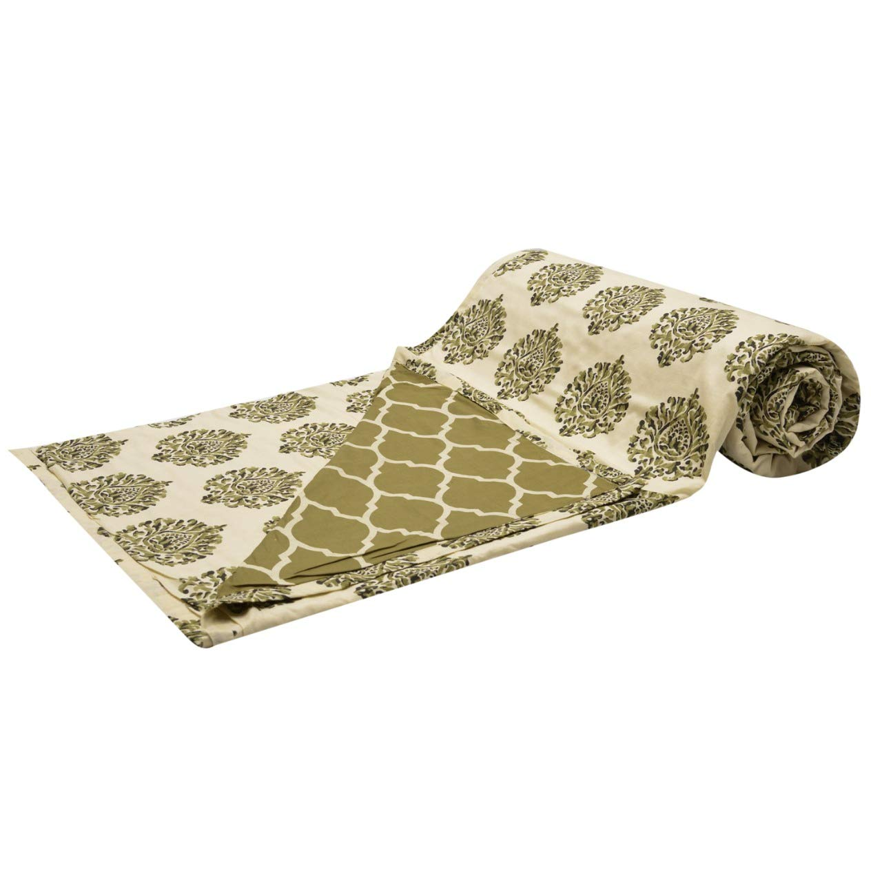 Trance Home Linen Cotton Single Dohar - Damask Forest Green