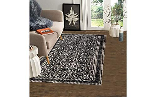 "Trance Home Linen Cotton Printed Dhurrie Rugs for Living Room | Carpet Rug Runner | Floor Mat for Bedroom Kitchen - Large 5 x 7 Feet (60""x84"")"