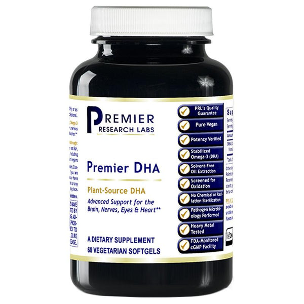 DHA 200 mg 60 Premier Dietary Supplement Plant-Source DHA Premier Support for the Brain, Nerves, Eyes and Heart