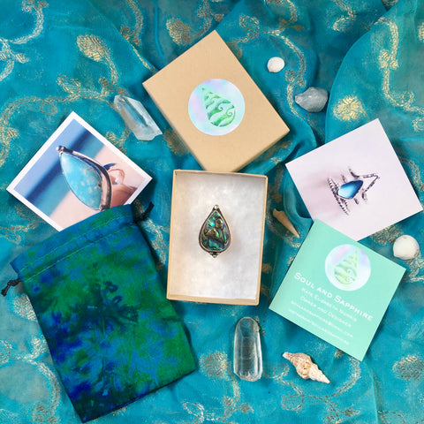 Eco Jewellery, cotton business cards, sterling silver rings, paua shell ring, sari jewellery bag, recycled jewellery boxes