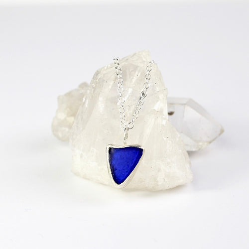 Blue Seaglass eco silver necklace