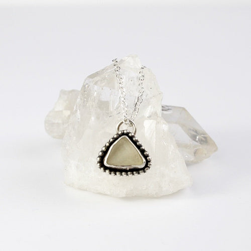 Seaglass Handmade Triangle Necklace Recycled Silver