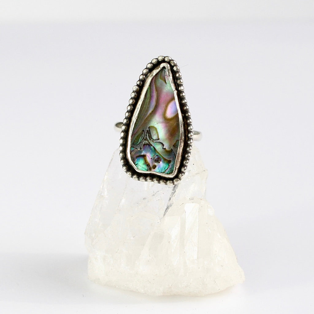 Beaded Abalone handmade ring recycled silver