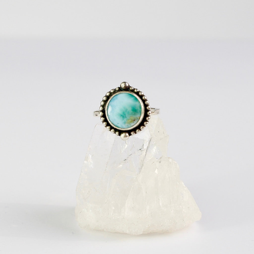 Larimar Beaded circle ring eco silver