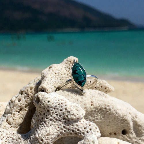 Turquoise Dainty Marquise Ring
