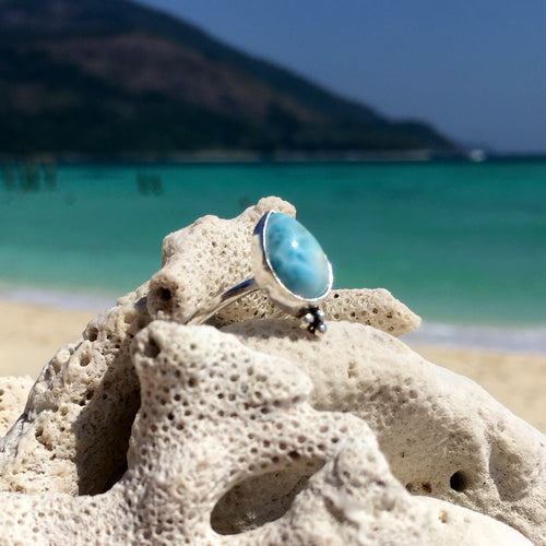 Larimar Teardrop Dot Ring