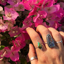 Load image into Gallery viewer, Beaded Abalone handmade ring recycled silver