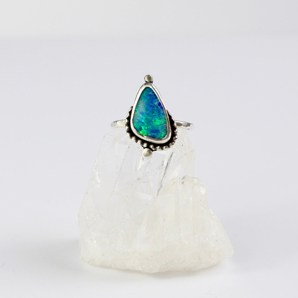 Opal Beaded Recycled Silver Ring