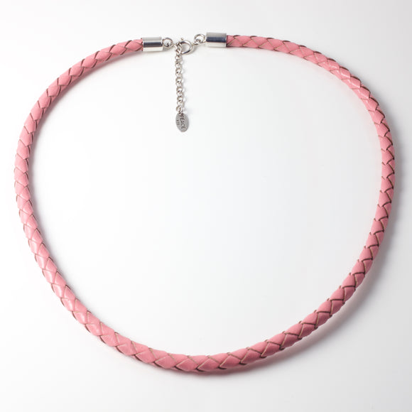 Sophie Pink Leather & Silver Necklace