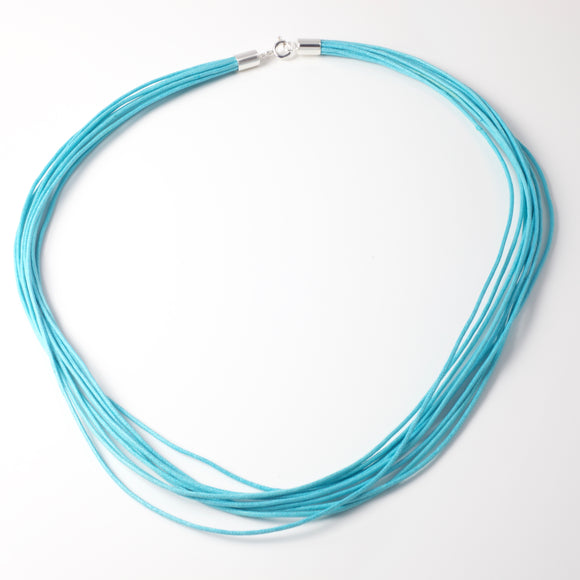 Alice Aqua Cotton Strands & Silver Necklace