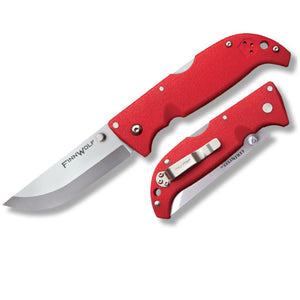 Cold Steel Fin Wolf Folder 3.5 in Plain Red Griv-Ex Handle - A-Kuma Tactical