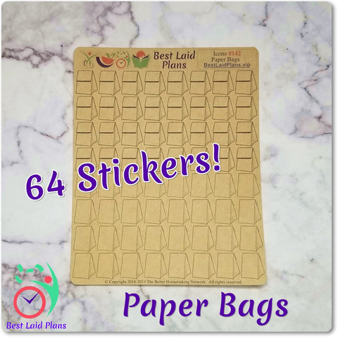 Image of Brown Paper Lunch Bag Grocery Delivery Icon Stickers