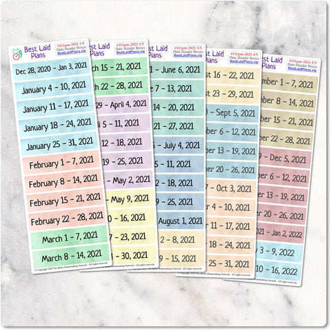 Image of 2021 Planner stickers Weekly Date Header covers