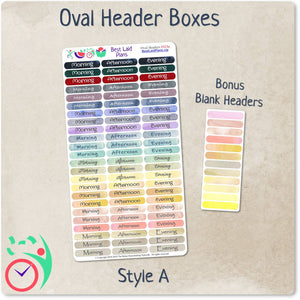 Oval Header Boxes Morning - Afternoon - Evening