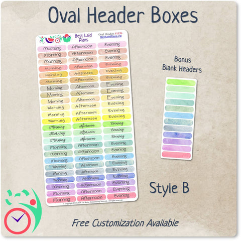 Image of Oval Header Boxes Morning - Afternoon - Evening