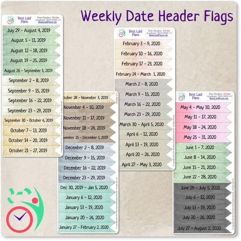 Image of Weekly Date Header Flags 2021