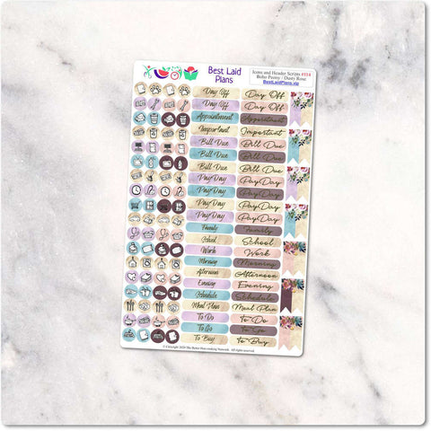 Image of Planner Stickers Functional and decorative Icons and header scripts