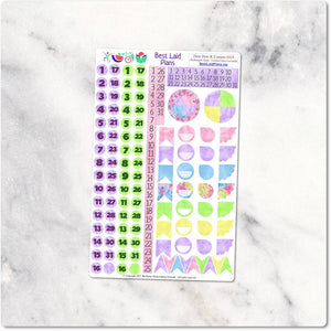 Functional Sticker Kit Watercolor Floral Pastel Hydrangea Hype Lemon Lime Lavender
