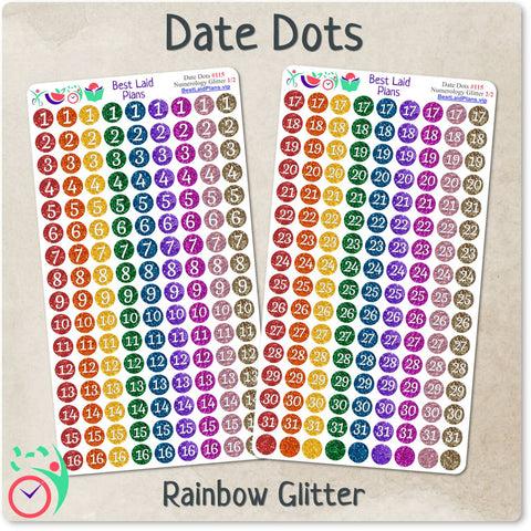 Image of Rainbow Glitter Date Dots
