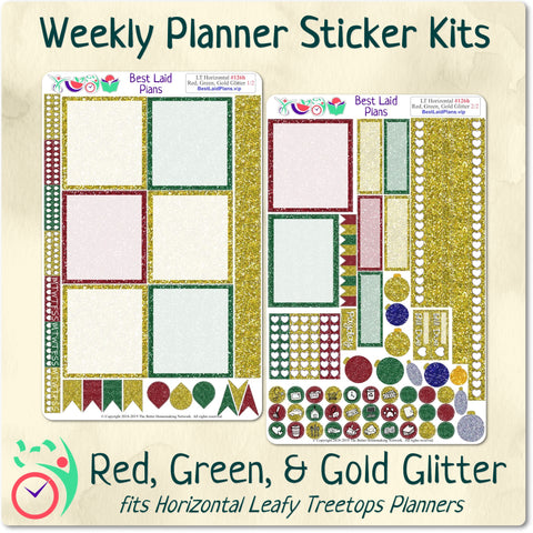 Image of Leafy Treetops Horizontal Weekly Kit Red Green and Gold Glitter